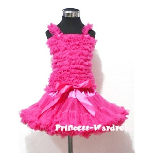 Bright Pink Pettiskirt with Matching Bright Pink Ruffles Tank Tops MR40