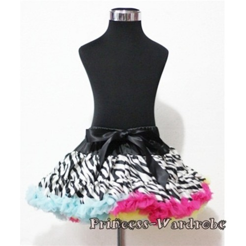 Zebra Rainbow Hot Pink Yellow Light Blue Full Pettiskirt P112