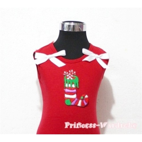 Christmas Sock Red Tank Top with White Ribbon TN78