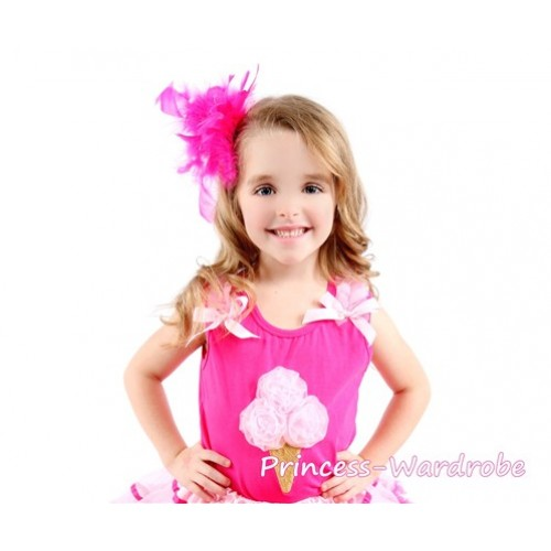 Hot Pink Tank Top with Light Pink Ice Cream with Light Pink Ribbon and Ruffles TR21