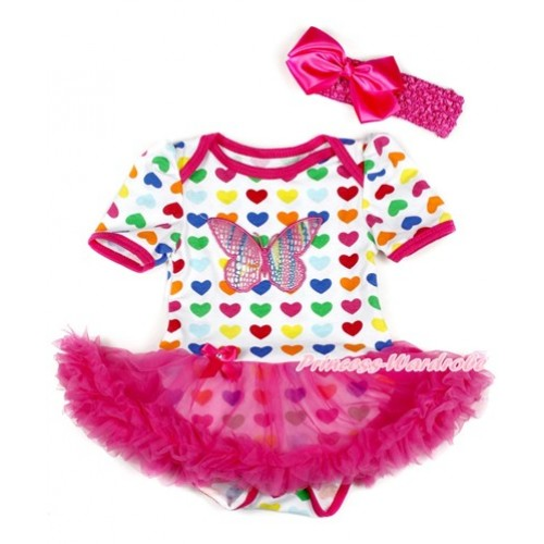 Rainbow Heart Baby Bodysuit Jumpsuit Hot Pink Pettiskirt With Rainbow Butterfly Print With Hot Pink Headband Hot Pink Silk Bow JS1802