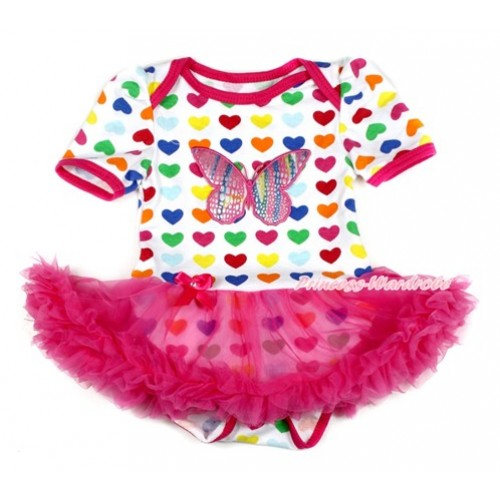 Rainbow Heart Baby Bodysuit Jumpsuit Hot Pink Pettiskirt with Rainbow Butterfly Print JS1716