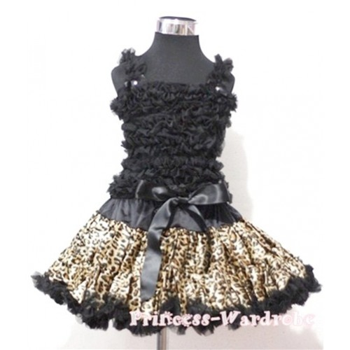 Black Ruffles Top With Black Leopard Pettiskirt MR39