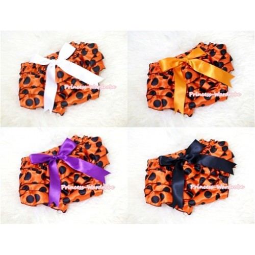 Halloween Black Orange Polka Dots Layer Panties Bloomers with Cute Big Bow BC119