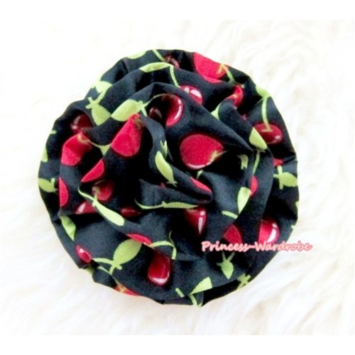 Black Cherry Print Rosettes Hair Pin H322