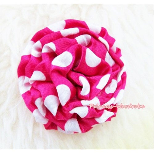 Dark Hot Pink White Polka Dot Print Rosettes Hair Pin H323