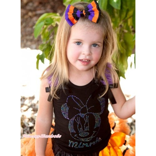 Black Tank Top With Dark Purple Ruffles & Black Bow With Sparkle Crystal Glitter Dark Purple Minnie Print TB384