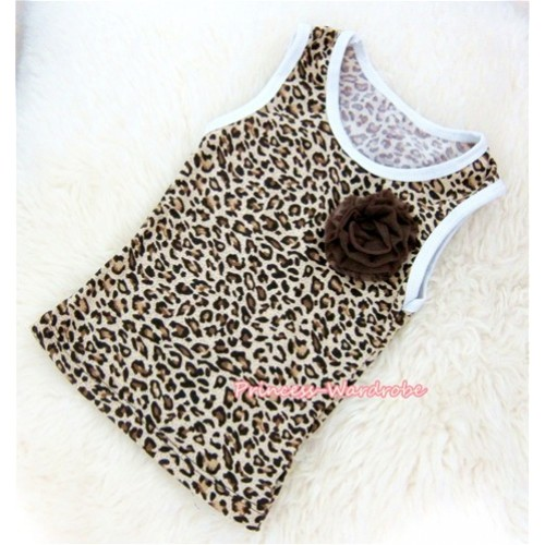 Leopard Tank Tops With One Brown Rose TL001