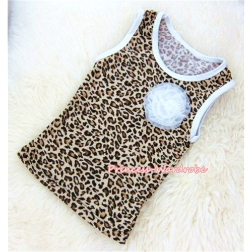 Leopard Tank Tops With One White Rose TL004