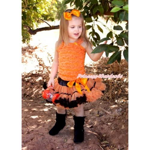 Black Orange Trim Pettiskirt with Matching Orange Ruffles Tank Top MR107