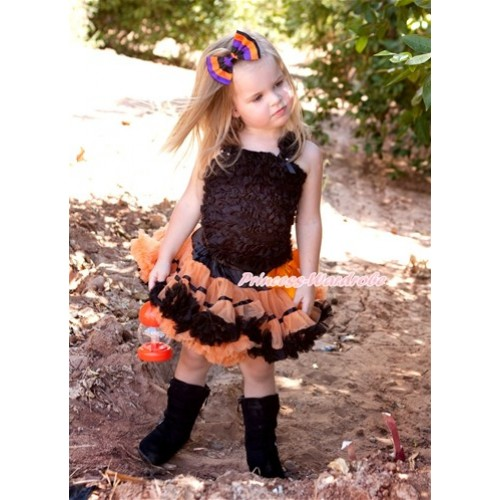 Black Orange Trim Pettiskirt with Matching Black Ruffles Tank Top MR108