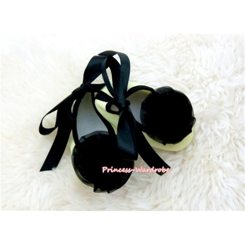 Black Ribbon Yellow Crib Shoes with Black Rosettes S434
