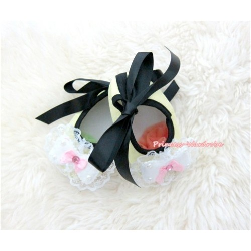 Black Ribbon Yellow Crib Shoes with Lace Bow S433
