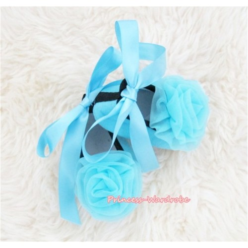 Light Blue Ribbon Crib Shoes with Light Blue Rosettes S435