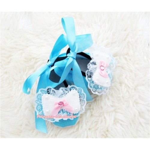 Light Blue Ribbon Crib Shoes with Lace Bow Rosettes S437