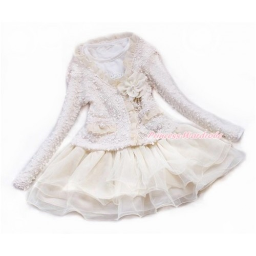 Ivory Cream White Beige Lace Flower Pearl Jacket Coat Matching White Long Sleeves Beige One Piece Party Dress Set SH38