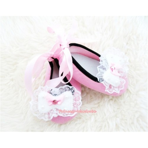 Light Pink Ribbon Crib Shoes with Lace Bow Rosettes S443