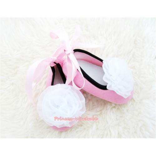 Light Pink Ribbon Crib Shoes with White Rosettes S444