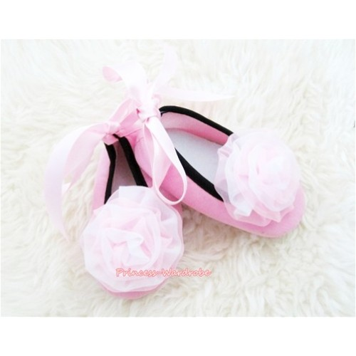 Light Pink Ribbon Crib Shoes with Light Pink White Rosettes S445
