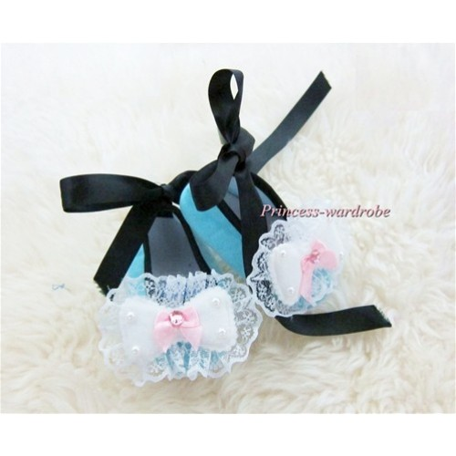 Black Ribbon Light Blue Crib Shoes with Lace Bow S439
