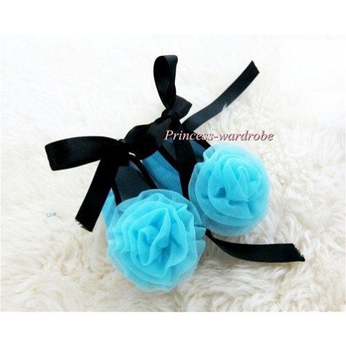 Black Ribbon Light Blue Crib Shoes with Light Blue Rosettes S442