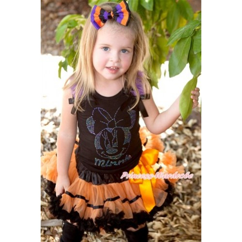 Halloween Black Tank Top with Sparkle Crystal Glitter Dark Purple Minnie Print with Dark Purple Ruffles & Black Bow & Black Orange Trim Pettiskirt MG763