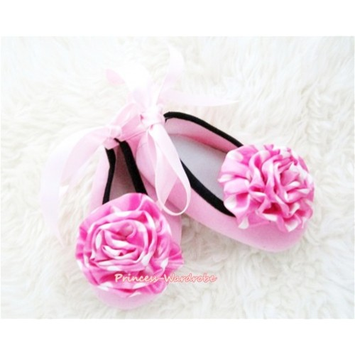 Light Pink Ribbon Crib Shoes with Hot Pink White Polka Dots Rosettes S447