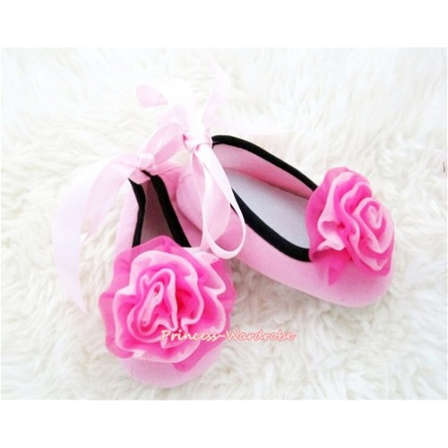 Light Pink Ribbon Crib Shoes with Hot Pink Mix Light Pink Rosettes S449