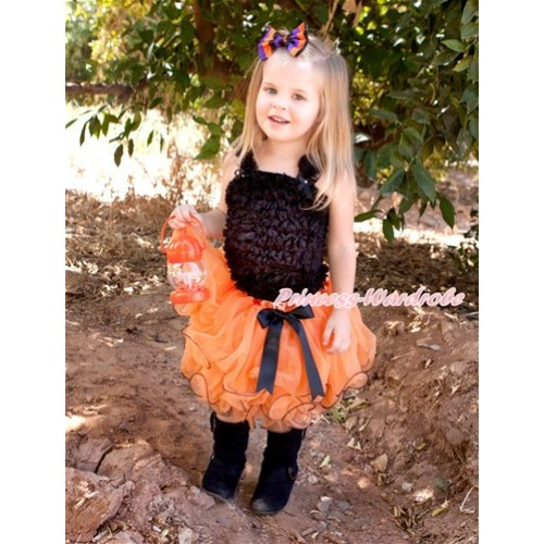 Halloween Black Bow Orange Petal Pettiskirt with Black Ruffles Tank Top MR245