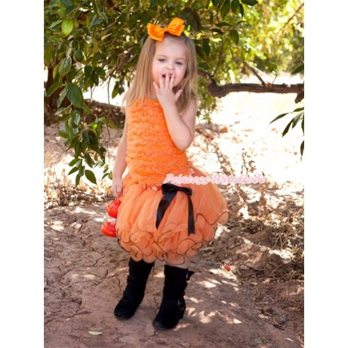 Halloween Black Bow Orange Petal Pettiskirt with Orange Ruffles Tank Top MR247