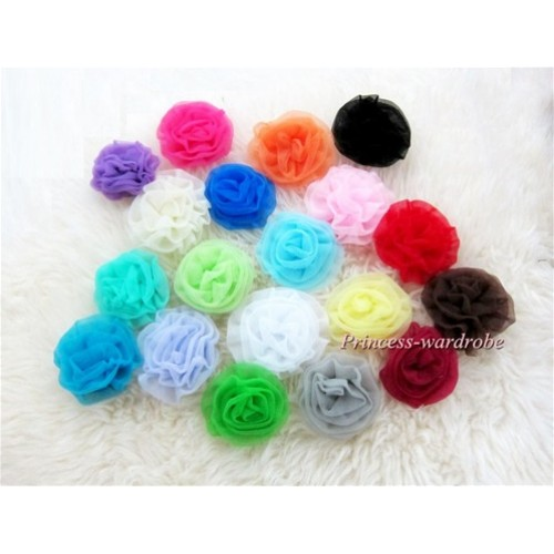 Lot 19 Solid Colour Rosettes Clip/ Pin LA002