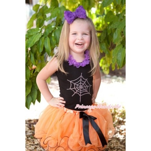 Halloween Black Baby Pettitop with Sparkle Crystal Bling Purple Minnie Print with Dark Purple Chiffon Lacing with Black Bow Orange Petal Newborn Pettiskirt NG1252