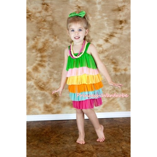 Green Rainbow Layer Party Dress PD010