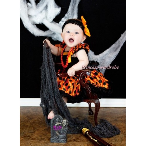 Black Baby Pettitop & Black Orange Dots Ruffles & Orange Bows with Black Orange Dots Baby Pettiskirt NG523
