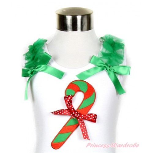 Xmas White Tank Top With Christmas Stick Print & Minnie Dots Bow with Kelly Green Ruffles & Kelly Green Bow TB515