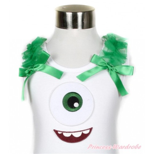 White Tank Top With Big Eyes Monster Print With Kelly Green Ruffles & Kelly Green Bow TB516