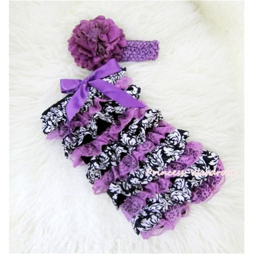 Damask Dark Purple Layer Chiffon Romper with Dark Purple Bow and Dark Purple Headband Set RH82