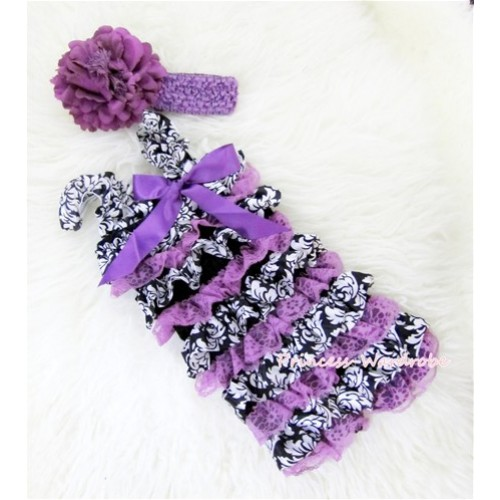 Damask Dark Purple Layer Chiffon Romper with Dark Purple Bow & Straps with Headband Set RH76