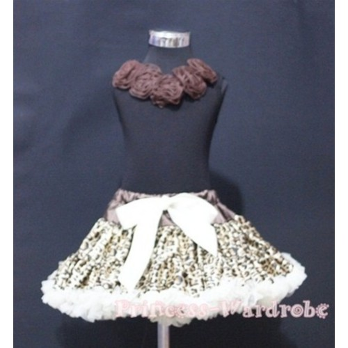 Black Tank Tops with Brown Rosettes & Cream White Leopard Pettiskirt MW66