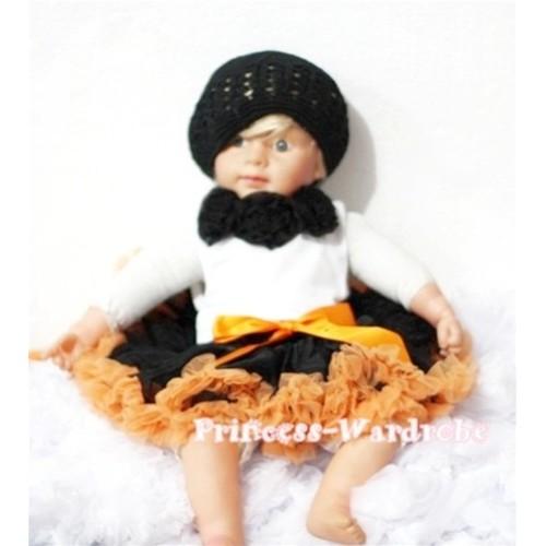 White Baby Pettitop & Black Rosettes with Black Orange Baby Pettiskirt NG175