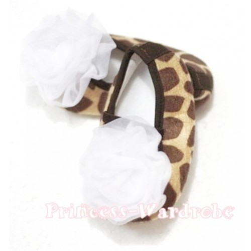 Baby Giraffe Crib Shoes with White Rosettes S67