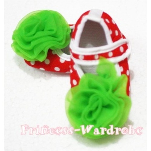 Baby Red White Poika Dot Crib Shoes with Dark Green Rosettes S77