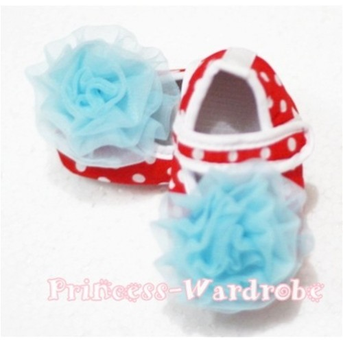 Baby Red White Poika Dot Crib Shoes with Light Blue Rosettes S78