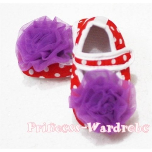Baby Red White Poika Dot Crib Shoes with Dark Purple Rosettes S80
