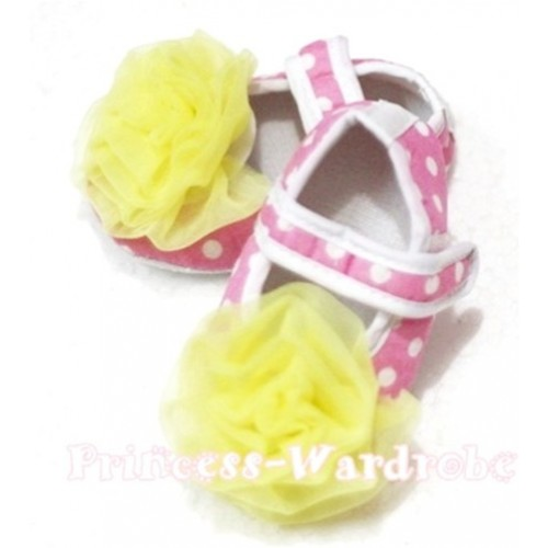 Baby Light Pink White Poika Dot Crib Shoes with Yellow Rosettes S91