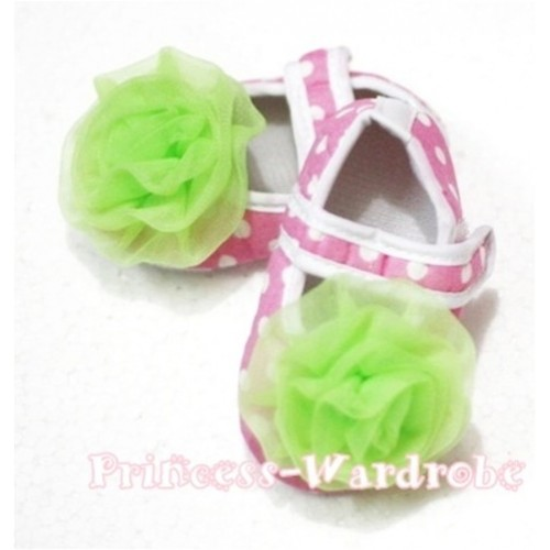 Baby Light Pink White Poika Dot Crib Shoes with Lime Green Rosettes S92