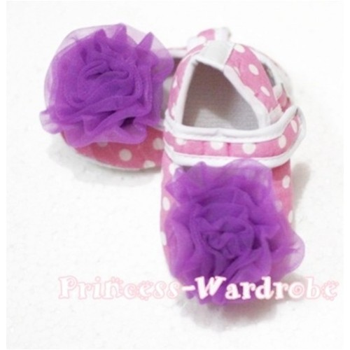 Baby Light Pink White Poika Dot Crib Shoes with Dark Purple Rosettes S96