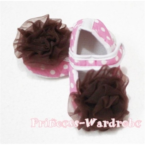 Baby Light Pink White Polka Dot Crib Shoes with Brown Rosettes S100