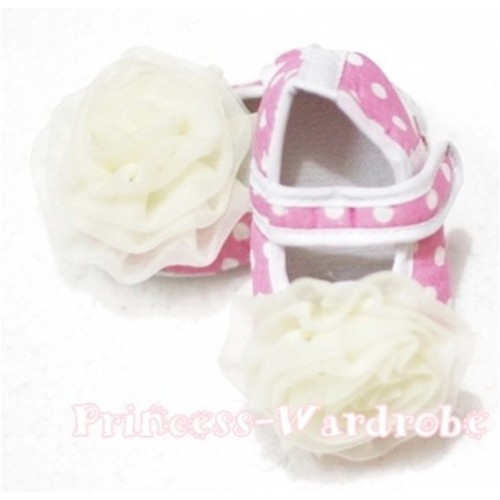 Baby Light Pink White Polka Dot Crib Shoes with Cream White Rosettes S103