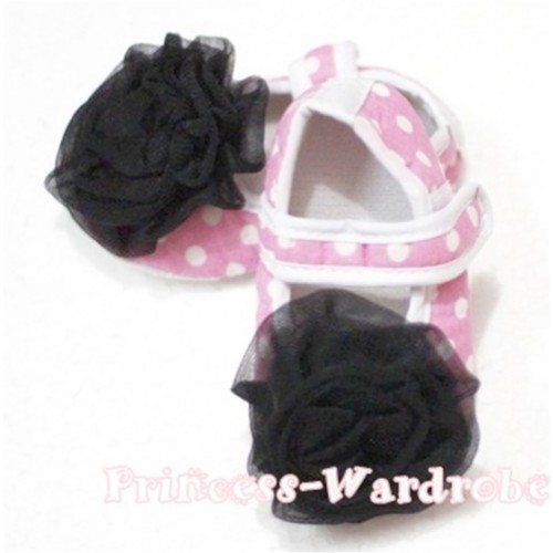 Baby Light Pink White Poika Dot Crib Shoes with Black Rosettes S98